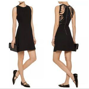 Sandro Paris black mini dress slash zip up back